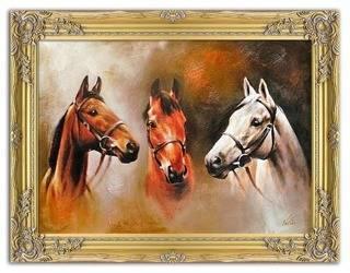 """Obraz """"Zwierzęta"""" ręcznie malowany 63x84cm"""
