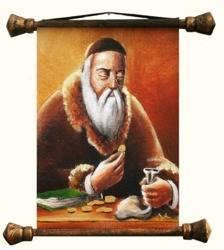 """Obraz """"Żyd na szczęście"""" ręcznie malowany 37x62cm"""
