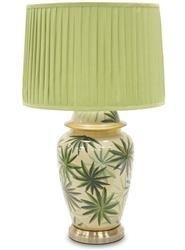 Stołowa Lampa Z Kloszem Ceramiczna Kwiaty