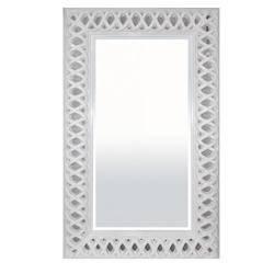 Stylowa Zdobna  Rama Lustro Biały 153 x 93 x 6 cm