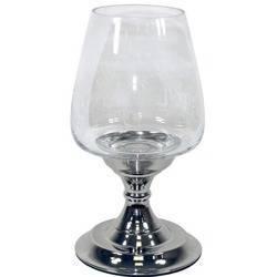 Świecznik niklowany ze szklanym kloszem H: 30 cm