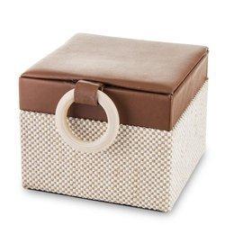 Szkatułka Na Biżuterię kuferek beżowy aksamit