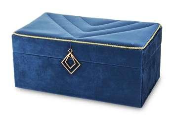 Szkatułka Na Biżuterię kuferek niebieski aksamit