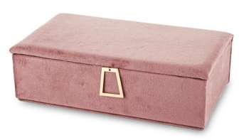 Szkatułka Na Biżuterię kuferek różowy aksamit