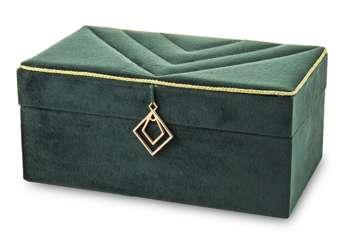Szkatułka Na Biżuterię kuferek zielony aksamit