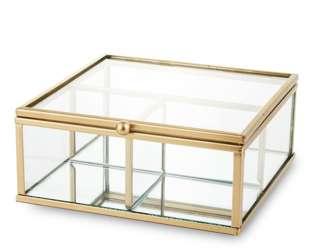 Szkatułka szklana na biżuterię złota H: 6 cm
