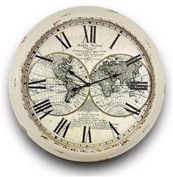 Zegar ścienny biały Mapa Świata 93x93cm