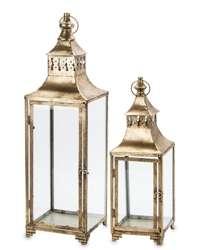 Złoty Lampion Antyczny Kpl. 2 Szt. Metal Szkło
