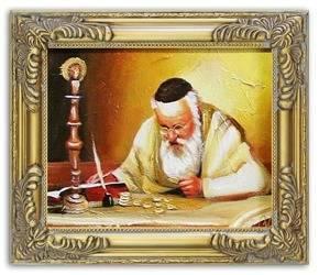 Żyd na szczęście olejny, ręcznie malowany 27x32cm