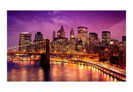 Fototapeta - Manhattan i Most Brookliński nocą