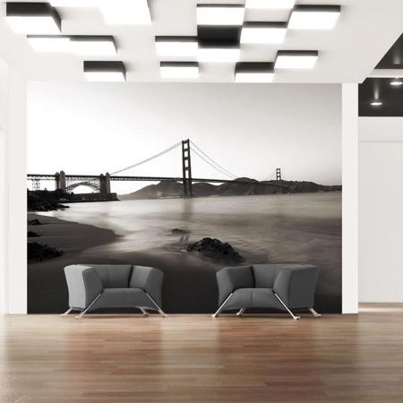 Fototapeta - San Francisco: Most Golden Gate w czerni i bieli