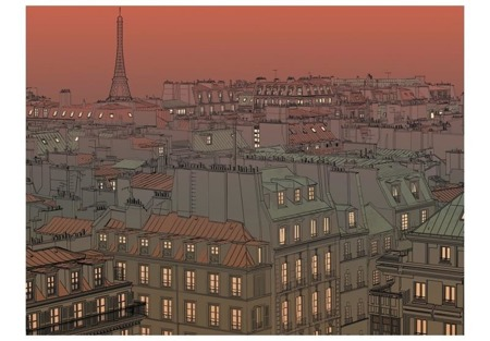 Fototapeta - Wieczorna zorza nad Paryżem