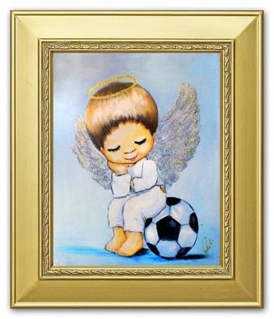 """Obraz """"Anioły"""" ręcznie malowany 27x32cm"""