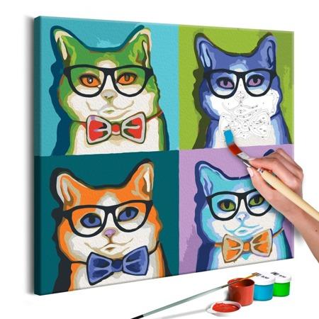 Obraz do samodzielnego malowania - Koty w okularach