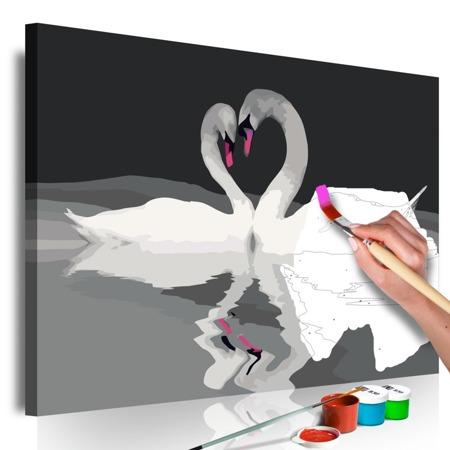 Obraz do samodzielnego malowania - Para łabędzi