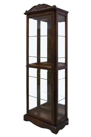 Szafka witryna stylowa ciemny brąz szkło drewno